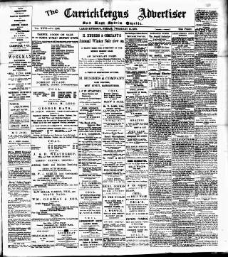 cover page of Carrickfergus Advertiser published on February 19, 1909