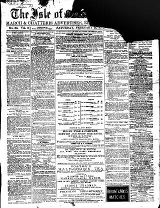 cover page of Cambridgeshire Times published on February 21, 1874