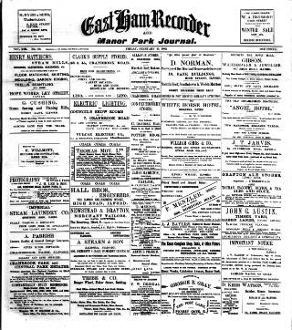 cover page of Ilford Recorder published on February 21, 1902