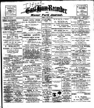 cover page of Ilford Recorder published on July 25, 1902