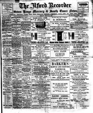 cover page of Ilford Recorder published on May 27, 1904