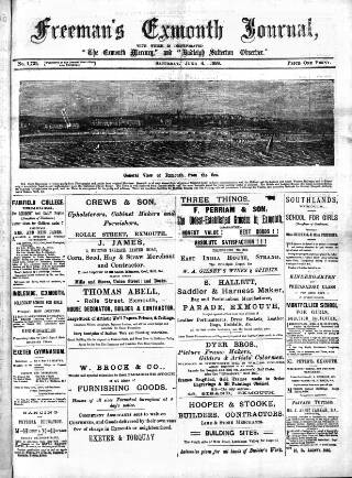 cover page of Exmouth Journal published on June 4, 1898