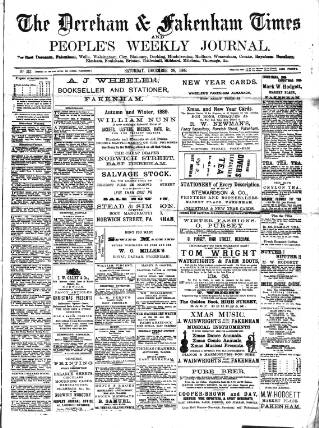 cover page of Dereham and Fakenham Times published on December 28, 1889