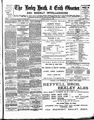 cover page of Bexley Heath and Bexley Observer published on April 19, 1895