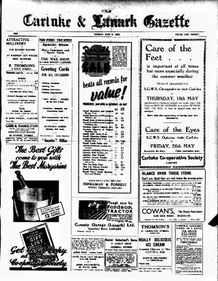 cover page of Carluke and Lanark Gazette published on May 5, 1939