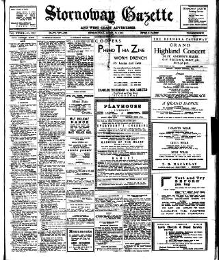 cover page of Stornoway Gazette and West Coast Advertiser published on April 28, 1950