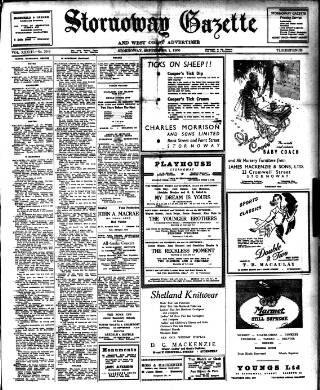cover page of Stornoway Gazette and West Coast Advertiser published on September 1, 1950