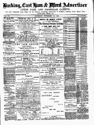 cover page of Barking, East Ham & Ilford Advertiser, Upton Park and Dagenham Gazette published on November 22, 1890