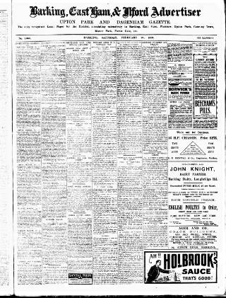 cover page of Barking, East Ham & Ilford Advertiser, Upton Park and Dagenham Gazette published on February 20, 1909