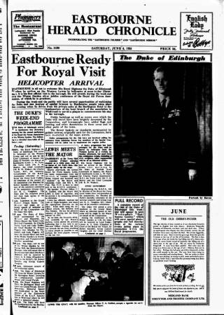 cover page of Eastbourne Herald published on June 4, 1955