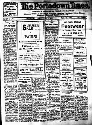 cover page of Portadown Times published on July 16, 1937