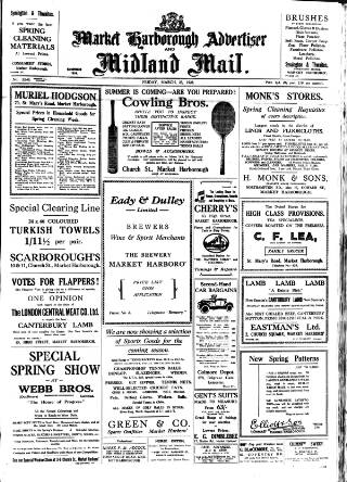 cover page of Market Harborough Advertiser and Midland Mail published on March 23, 1928
