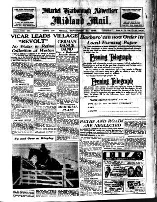 cover page of Market Harborough Advertiser and Midland Mail published on September 20, 1946