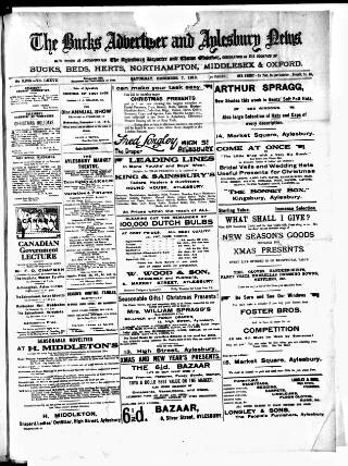 cover page of Bucks Advertiser & Aylesbury News published on December 7, 1912