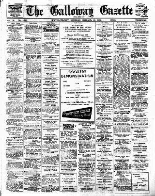 cover page of Galloway Gazette published on February 23, 1952