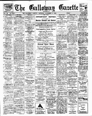 cover page of Galloway Gazette published on November 8, 1952