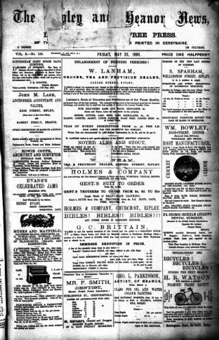 cover page of Ripley and Heanor News and Ilkeston Division Free Press published on May 22, 1891