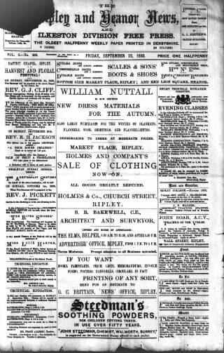 cover page of Ripley and Heanor News and Ilkeston Division Free Press published on September 22, 1893