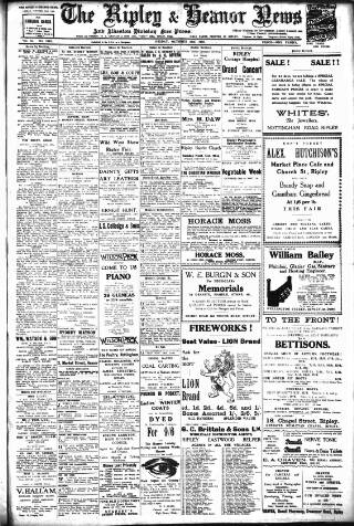 cover page of Ripley and Heanor News and Ilkeston Division Free Press published on October 23, 1925