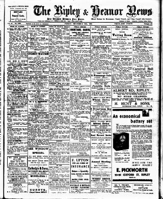 cover page of Ripley and Heanor News and Ilkeston Division Free Press published on November 24, 1933