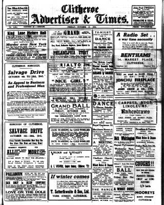 cover page of Clitheroe Advertiser and Times published on October 17, 1941