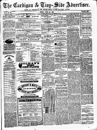 cover page of Cardigan & Tivy-side Advertiser published on June 3, 1870