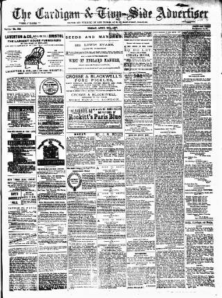 cover page of Cardigan & Tivy-side Advertiser published on April 20, 1877