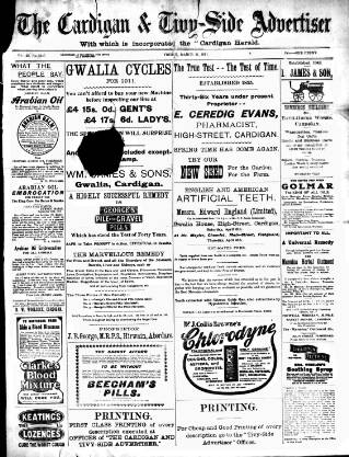 cover page of Cardigan & Tivy-side Advertiser published on March 31, 1911