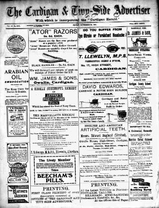 cover page of Cardigan & Tivy-side Advertiser published on November 24, 1911