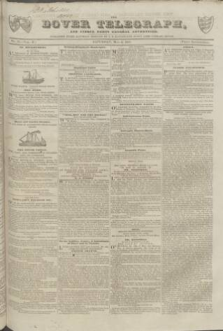 cover page of Dover Telegraph and Cinque Ports General Advertiser published on May 9, 1835