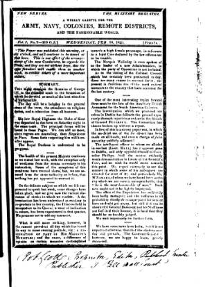 cover page of Military Register published on February 16, 1820