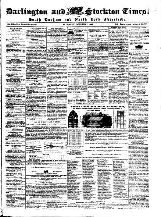 cover page of Darlington & Stockton Times, Ripon & Richmond Chronicle published on October 1, 1853