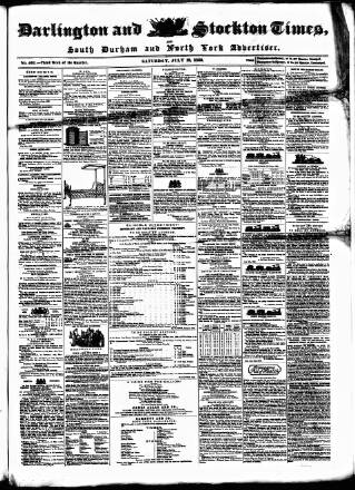 cover page of Darlington & Stockton Times, Ripon & Richmond Chronicle published on July 19, 1856