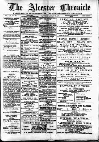 cover page of Alcester Chronicle published on January 20, 1877