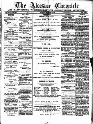 cover page of Alcester Chronicle published on November 24, 1888