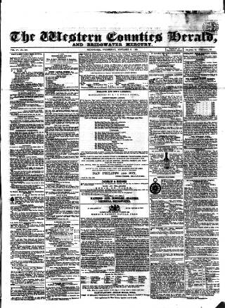 cover page of Bridgwater Mercury published on November 21, 1860