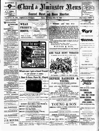 cover page of Chard and Ilminster News published on October 17, 1903