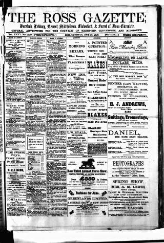 cover page of Ross Gazette published on June 23, 1892