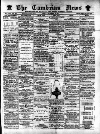 cover page of Cambrian News published on December 16, 1881