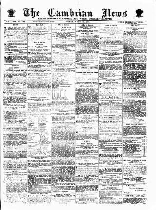 cover page of Cambrian News published on March 23, 1883