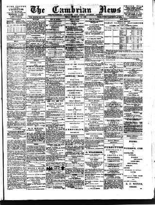 cover page of Cambrian News published on February 18, 1898