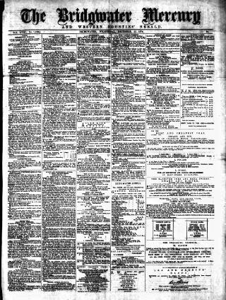 cover page of Bridgwater Mercury published on December 11, 1878