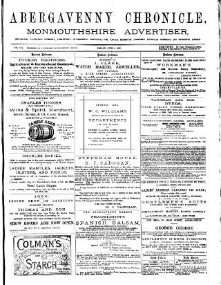 cover page of Abergavenny Chronicle published on June 4, 1880