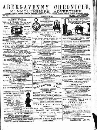 cover page of Abergavenny Chronicle published on April 24, 1885