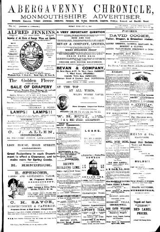 cover page of Abergavenny Chronicle published on February 18, 1898