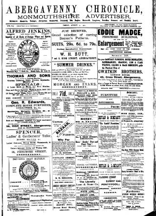 cover page of Abergavenny Chronicle published on August 23, 1901