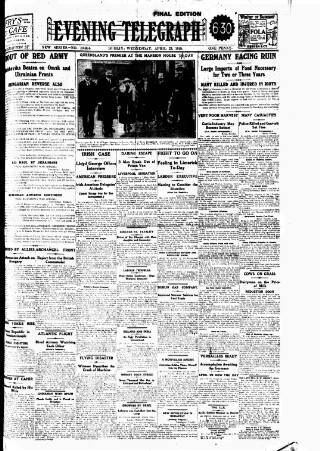 cover page of Dublin Evening Telegraph published on April 23, 1919