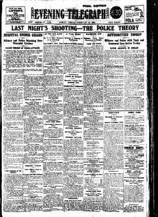 cover page of Dublin Evening Telegraph published on February 20, 1920