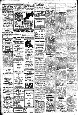 cover page of Dublin Evening Telegraph published on June 1, 1920