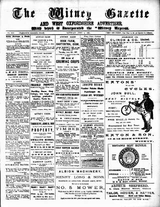 cover page of Witney Gazette and West Oxfordshire Advertiser published on June 1, 1901